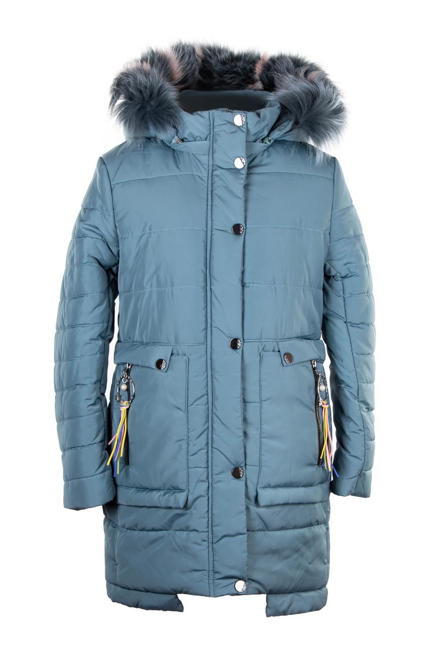 Зимние пальто для девочки подростка с натуральным мехом  32-40 джинс