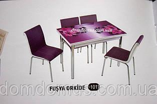 """Комплект обеденной мебели """"Fusya Orkide """" (стол ДСП, каленное стекло + 4 стула) Mobilgen, Турция"""