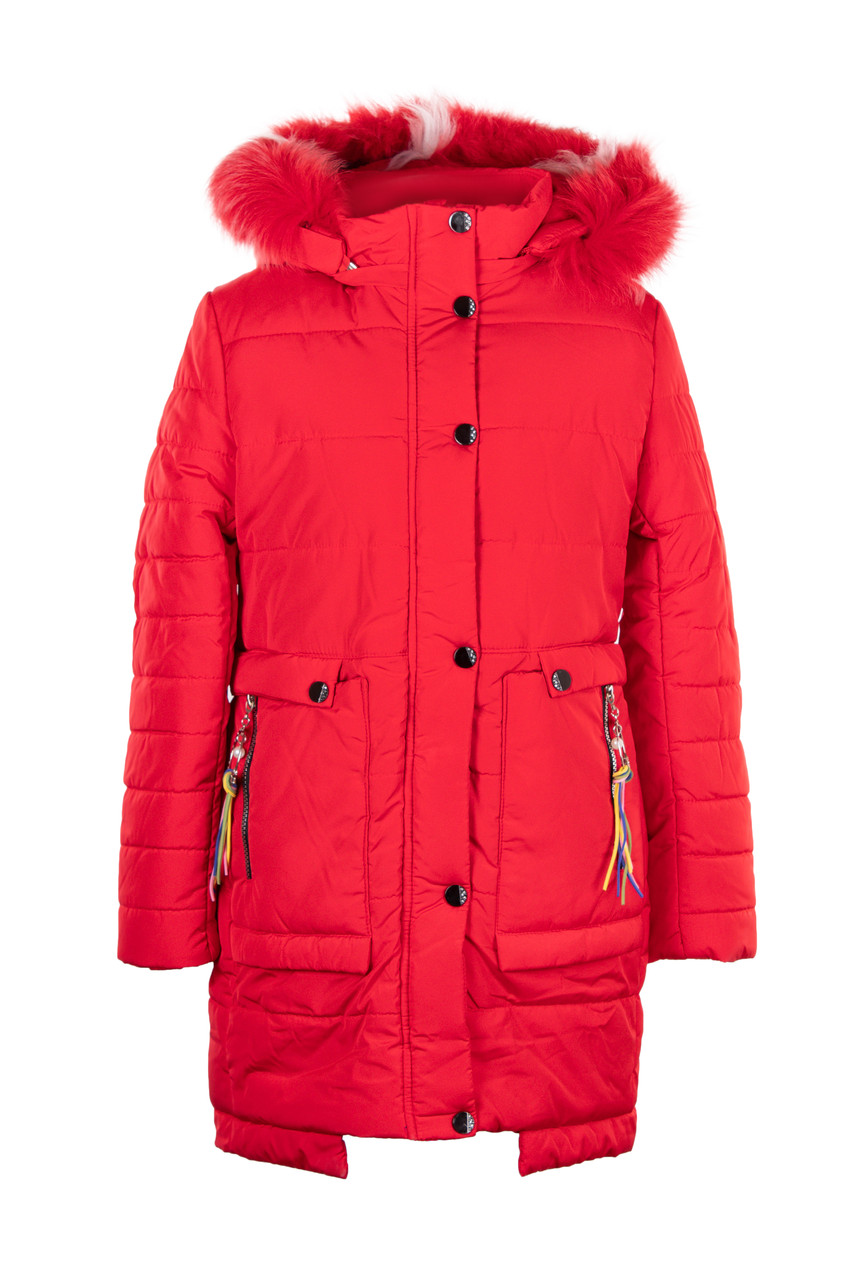 Куртка для девочек зима 32-40 красный