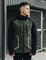 Куртка мужская демисезонная Staff softshell haki and black с рефлективными вставками