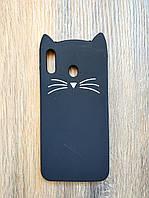 Объемный 3d силиконовый чехол для Samsung M20 Усатый кот черный