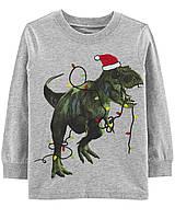 Новогодний трикотажный лонгслив Динозавр Carters  для мальчика