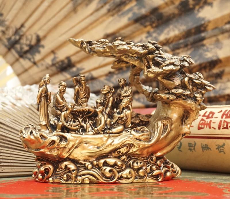 9260117 Восемь священных даосов под деревом под бронзу