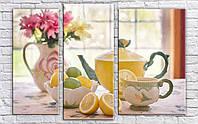 "Модульная картина на холсте ""Чайный натюрморт"""