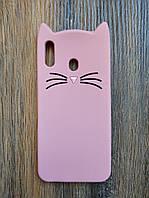 Объемный 3d силиконовый чехол для Samsung M20 Усатый кот розовый