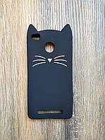 Объемный 3d силиконовый чехол для Xiaomi Redmi 3s Усатый кот черный