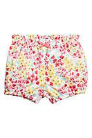 Детские летние хлопковые шорты в цветочек Н&М для девочки