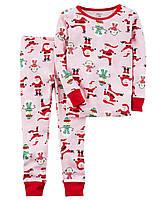 Новогодняя трикотажная пижама с Сантами Картерс для девочки
