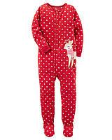 Детский флисовый новогодний красный комбинезон пижама (слип) Carters Картерс для девочки