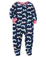 Детский флисовый синий комбинезон пижама (слип) Картерс для девочки
