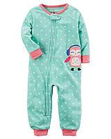 Детский флисовый бирюзовый комбинезон пижама (слип) Картерс для девочки