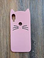 Объемный 3d силиконовый чехол для Xiaomi Mi Play Усатый кот розовый