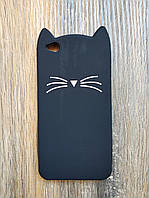 Объемный 3d силиконовый чехол для Xiaomi Redmi Go Усатый кот черный