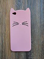 Объемный 3d силиконовый чехол для Xiaomi Redmi Go Усатый кот розовый