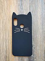 Объемный 3d силиконовый чехол для Xiaomi Mi A2 Lite Усатый кот черный