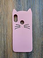 Объемный 3d силиконовый чехол для Xiaomi Mi A2 Lite Усатый кот розовый