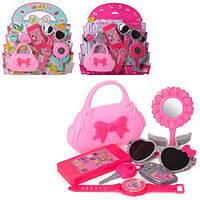 Набор аксессуаров: сумочка, телефон, очки, зеркало, брелок, асы, 2цв, на планш.34* (48шт) (HC198E-308E)