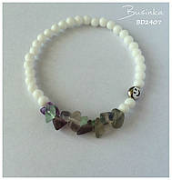 Браслет женский из белого нефрита и флюорита с серебряной бусиной Smile BD2407
