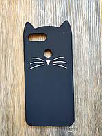 Объемный 3d силиконовый чехол для Xiaomi Mi 8 Lite Усатый кот черный