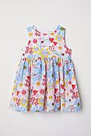 Детское летнее сатиновое платье в цветы НМ для девочки