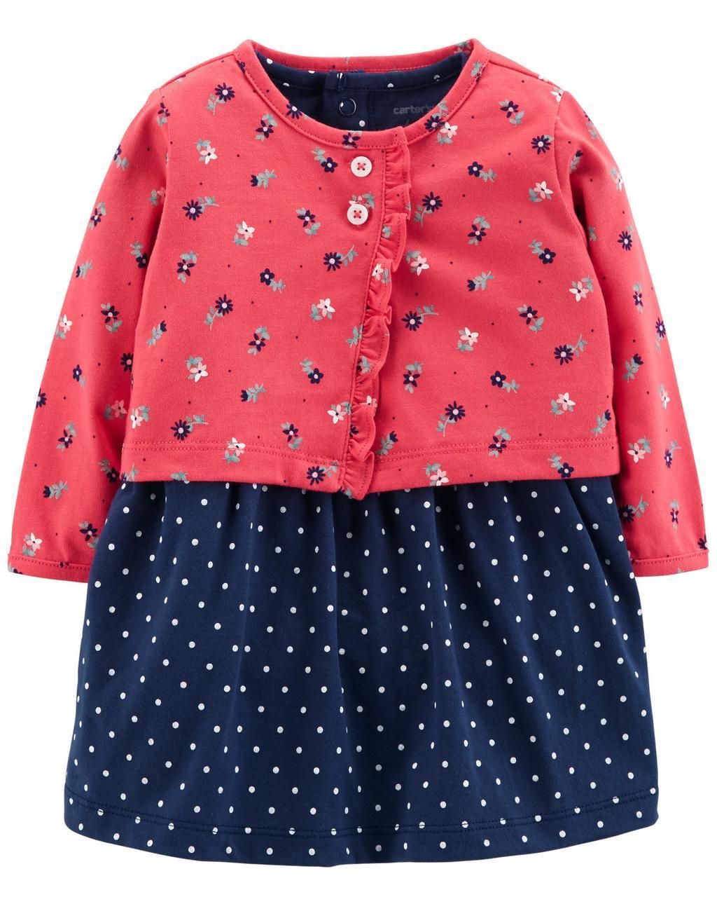 Комлект боди платье и кардиган Картерс для девочки