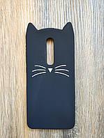 Объемный 3d силиконовый чехол для Xiaomi Mi 9t / K20 Усатый кот черный
