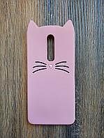 Объемный 3d силиконовый чехол для Xiaomi Mi 9t / K20 Усатый кот розовый