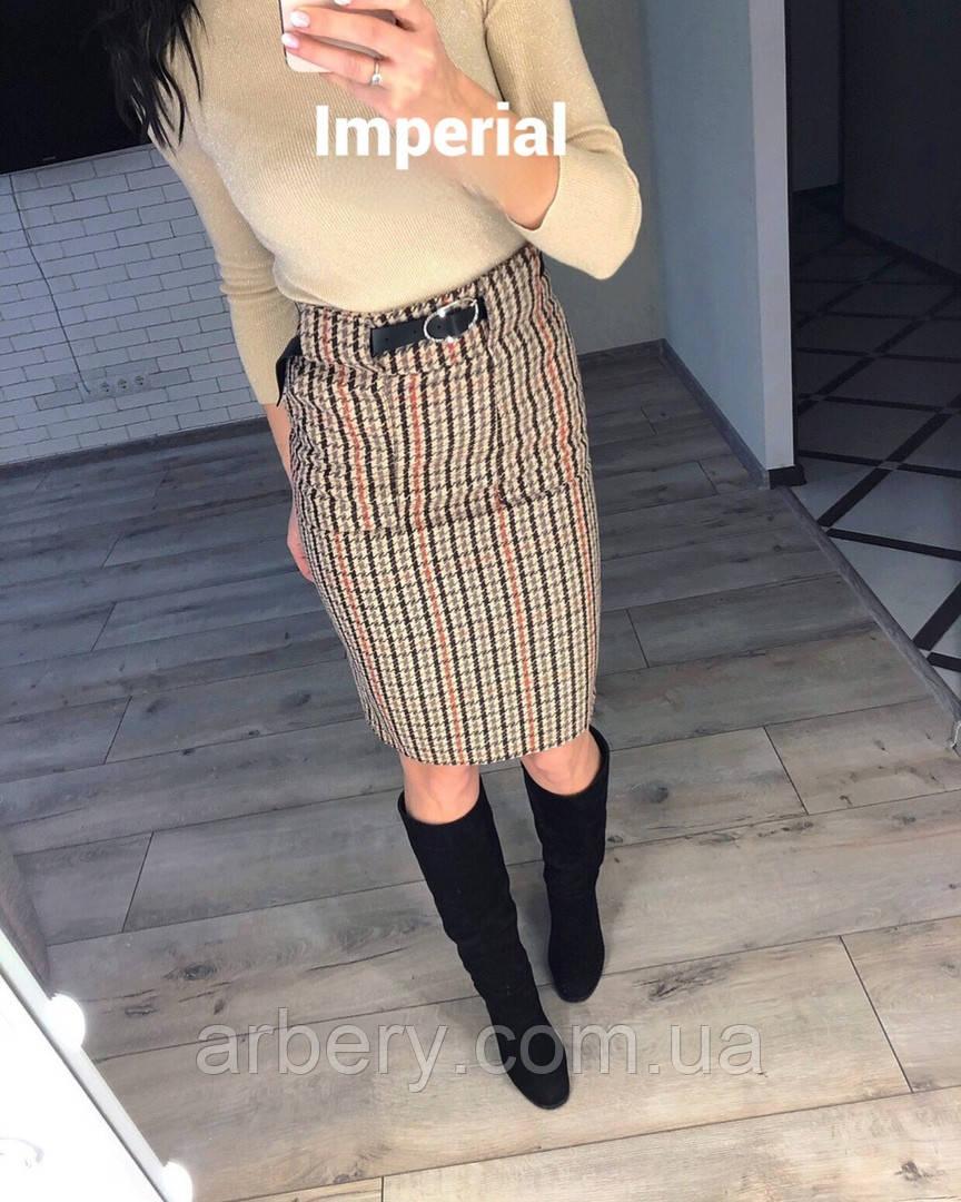Женская модная юбка-карандаш в клетку