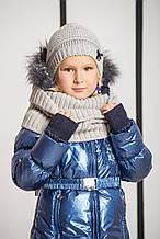 Комплект шапка + шарф для девочки Viaelisia Италия 9153 Серый весенний осенний демисезонный