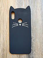Объемный 3d силиконовый чехол для Huawei Honor 8a Усатый кот черный
