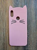 Объемный 3d силиконовый чехол для Huawei Honor 8a Усатый кот розовый