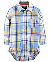Детская клетчатая боди рубашка ОшКош для мальчика