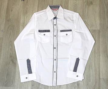 Рубашка белая для мальчика с контрастной отделкой