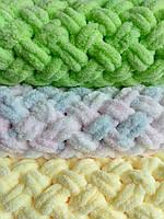 Плед плюшевый Полуторный размер 150*200 см ализе пуффи, ручная вязка