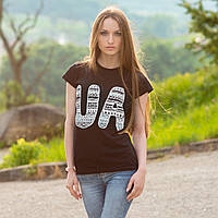 """Женская патриотическая футболка """"UA"""" (черная)"""