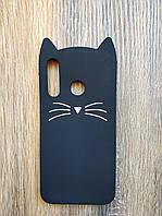 Объемный 3d силиконовый чехол для Huawei Honor 10i Усатый кот черный