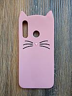 Объемный 3d силиконовый чехол для Huawei Honor 10i Усатый кот розовый