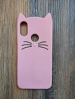 Объемный 3d силиконовый чехол для Xiaomi Redmi 7 Усатый кот розовый