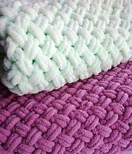 Плед нежный плюш размер 200*220 см ализе пуффи, ручная вязка