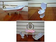 Мебель для кукол Gloria Глория 2316 Ванная комната Леди ванна, унитаз, туалетный столик