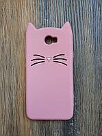 Объемный 3d силиконовый чехол для Huawei Y5ii Усатый кот розовый