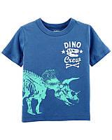 Детская синяя футболка с динозавром OшКош для мальчика