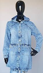 Кардиган джинсовый с капюшоном большого размера