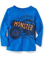 Детский синий регланчик с машинкой Oлд Неви для мальчика