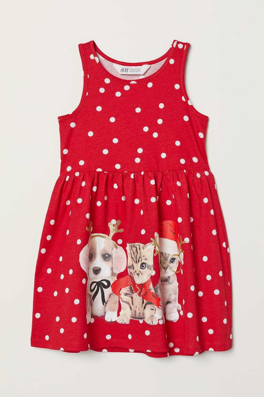 Красное платье в горошек HМ для девочки