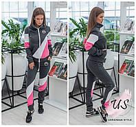 Спортивный теплый трехцветный женский  костюм . 2 расцветки! размеры!