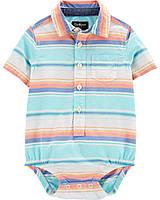 Стильная боди-рубашка в полоску ОшКош для мальчика