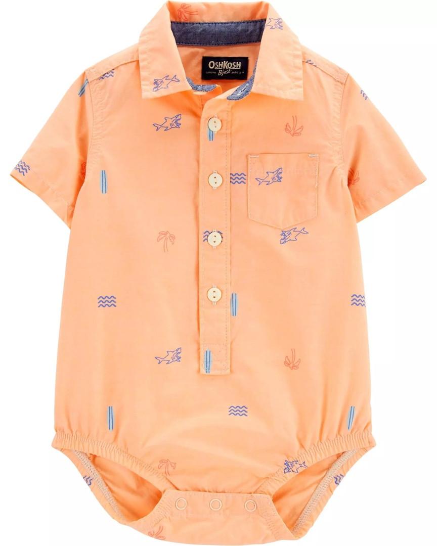 Яркая детская боди-рубашка с коротким рукавом ОшКош для мальчика
