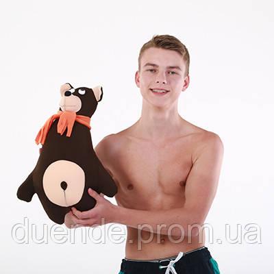 Антистрессовая игрушка-подушка, полистерольные шарики Медведь с шарфом полиэстер 43*34 см