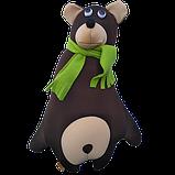 Антистрессовая игрушка-подушка, полистерольные шарики Медведь с шарфом полиэстер 43*34 см, фото 2